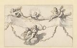 Six putti with a band