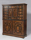 Cabinet with marquetry of flowers, birds, butterflies, mermaids and tritons with kink horns