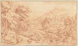 Italianate Landscape with a Shepherd and his Flock by the Water