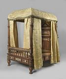 Rosewood four-poster bed, decorated with ivory marquetry