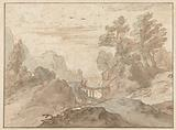 Mountain landscape with two figures on a narrow bridge