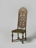 Chair with baluster-shaped legs, upholstered with floral green row