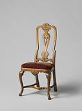 Chair with S-shaped angled front legs and scalloped parts. Shell and acanthus leaf decoration..