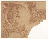 Corner design of a ceiling with Vertumnus and Pomona