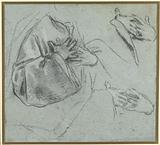 Sketches of crossed hands