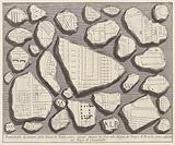 Marble fragments with parts of a map of Rome