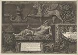 Title print with sculptures, carved reliefs and a sarcophagus with title (left part)