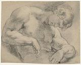 Nude figure with bowed head