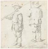 Two sketches of a standing man with a cane