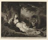 Portrait of Mary Lawrence with a lion in a landscape