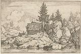 Landscape with four fir trees near a hut