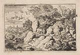 Landscape with two horsemen on a rocky path