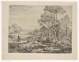 Wooded landscape with woman near a bridge