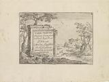 Title print with text on marble block in Italian landscape