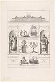 The temple of Solomon, King Solomon, the High Priest and six objects from the temple