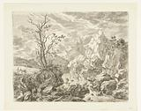 Rocky landscape in Styria, on the left a man with a mule