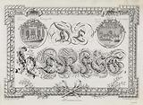Rectangular frame with leaf ornaments and vines for Autumn and medallions with old theater on Keizersgracht and …