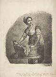 Woman at a washtub