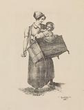 Woman with organ and child