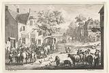 Village view with cattle traders and travelers in front of inn