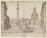 View of Rome with the column of Trajan and the S Maria di Loreto