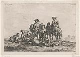 Travelers rest in an open field