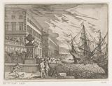 Harbor view with sailing ships in front of a palace