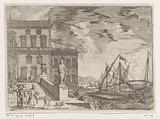 Harbor view with a galley in front of a palace