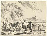 Man with horse and shepherdess on donkey with cattle in hilly landscape
