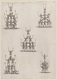 Five groups of ten or twelve acrobats