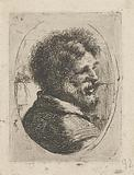 Head of a man with a beard, half seen from the back