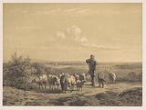 Shepherd with his sheep on the heath
