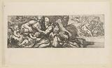 Mythological scene with tritons, satyrs and putti