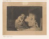 Mourning mother at the sick bed of a child