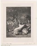 A monkey and a dog with dead game and fruit