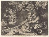Death and Cupid shoot each other's arrows and old man courting young woman