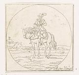 Rider on standing horse in medallion