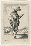 French nobleman, seen from the back, dressed according to the fashion of around 1630