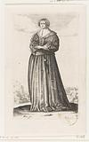 French noblewoman with book in hand, dressed according to the fashion of around 1630