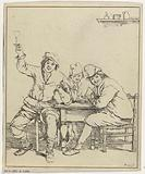 Three men at the table smoke and drink