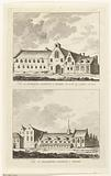 Two views of monasteries in Leiden: Catharina guesthouse in 1567 and Elisabeths guesthouse