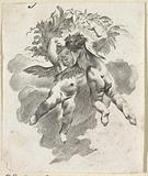 Two floating putti with a wreath of leaves