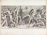 Perseus turns his enemies into stone with the head of Medusa