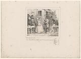Waardin presents the bill to three soldiers