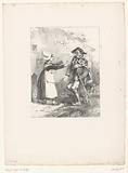 Woman extends her arms to drunken gamekeeper