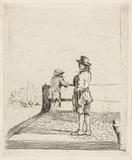 Two sailors are waiting in the harbor