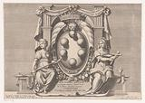 Medici family crest in decorated frame accompanied by the personifications of justice and faith