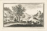Dune landscape with resting shepherds and men catching butterflies