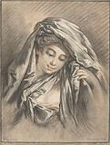 Woman's head with cloth draped around her head