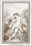 Venus and Amor with bunch of grapes